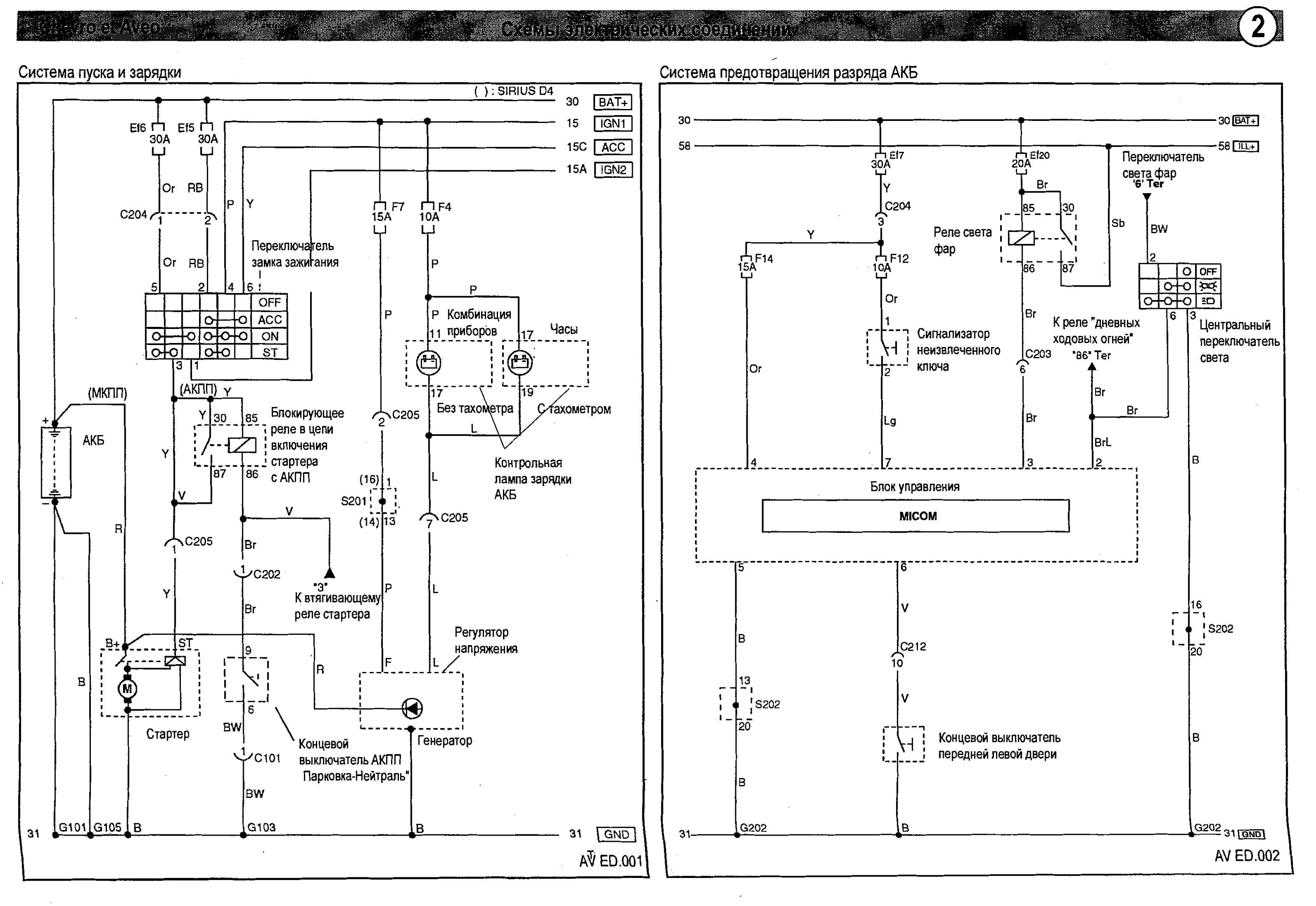 схема электрооборудования авео